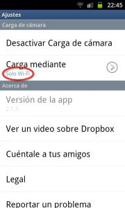 Carga mediante Wi-Fi en Dropbox